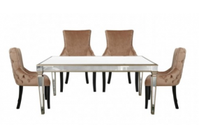 Apolco Champagne Dining Set With 4 Tufted Back Champagne Chairs