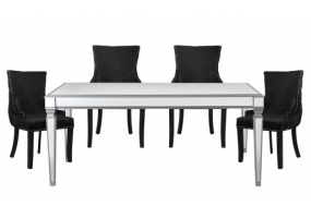Apolco Silver Mirrored Dining Set With 4 Tufted Back Black Chairs
