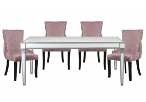 Apollo Silver Mirrored Dining Set With 4 Tufted Back Pink Chairs