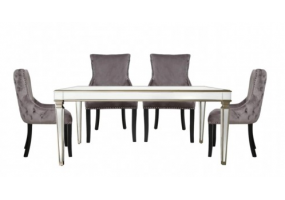 Apolco Champagne Dining Set With 4 Tufted Back Grey Chairs