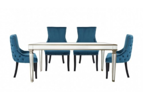 Apollo Champagne Dining Set With 4 Tufted Back Marine Green Chairs