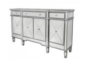 Bellmont Silver 3 Drawer 4 Door Mirror Cabinet