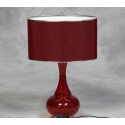 Red Glass Table Lamp with Red Silk Thread Shade