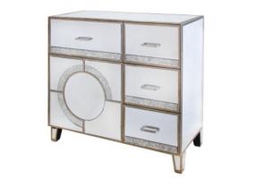 Gatzby Antique Mirror 4 Drawer And 1 Door Cabinet