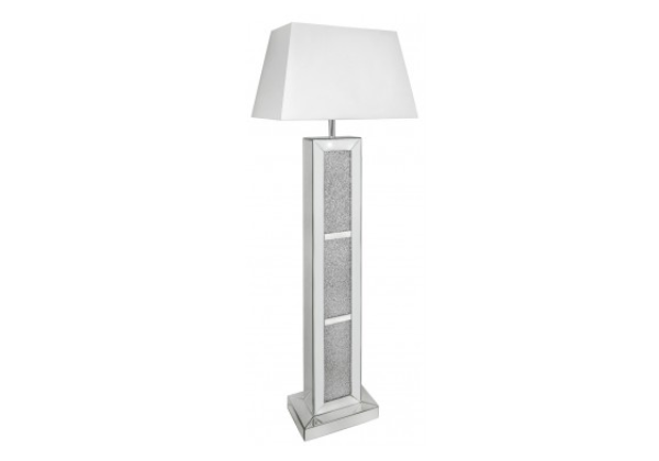Millanno Mirror Brick Floor Lamp With White Shade
