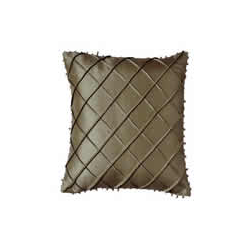 Silk Beaded Cross Stitch Pattern Cushion Cover - Latte
