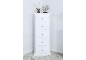 Detta White 5 Drawer Tallboy Cabinet