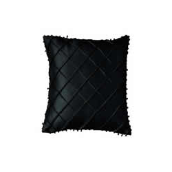 Silk Beaded Cross Stitch Pattern Cushion Cover - Black