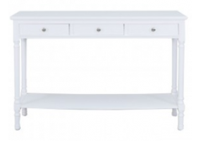 Detta White 3 Drawer Console Table