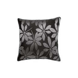Leaf Design Cushion Cover - Black and Grey