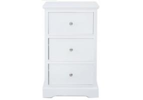 Detta White 3 Drawer Bedside Cabinet
