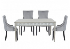 Medium Bayside Dining Set With 6 Ring Back Grey Chairs