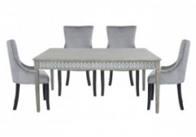 Large Bayside Dining Set With 6 Ring Back Grey Chairs