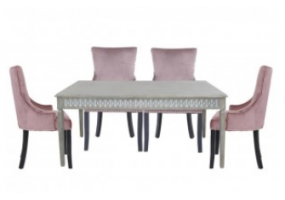 Medium Bayside Dining Set With 6 Ring Back Pink Chairs