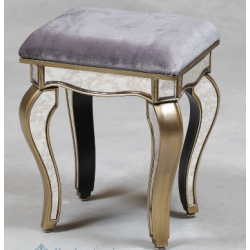 Small Antiqued Venetian Glass Silver Edged Stool