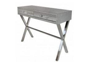 Silver Faux Snakeskin 2 Drawer Console Table