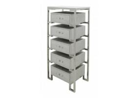 Silver Faux Snakeskin 5 Drawer Open Cabinet