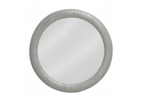 Silver Faux Snakeskin Round Wall Mirror