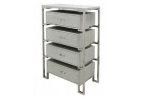 Silver Faux Snakeskin 4 Drawer Open Cabinet