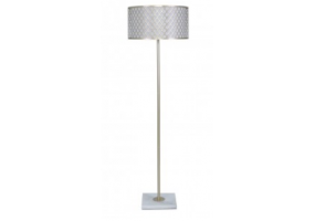 Gold Metal & Marble Floor Lamp With Marrakech Mesh Shade