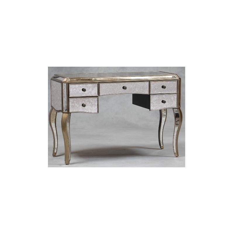 Large Antiqued Glass Venetian Style Desk Dressing Table Silver Edge Forever Furnishings