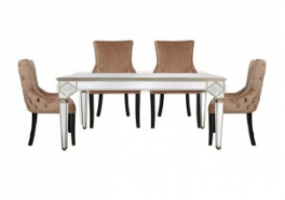 Morocco Dining Set With 4 Tufted Back Champagne Chairs