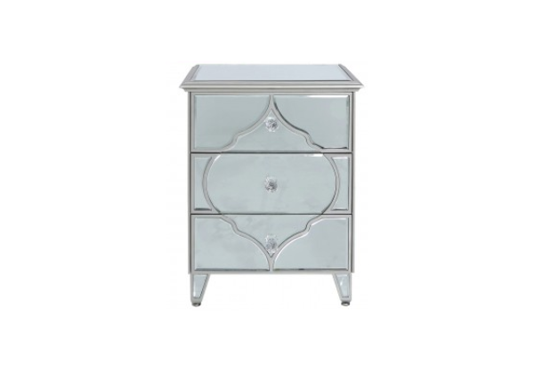 Morocco Silver Mirror 3 Drawer Bedside Cabinet
