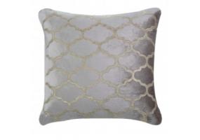 Morocco Patterned Beige Velvet Cushion