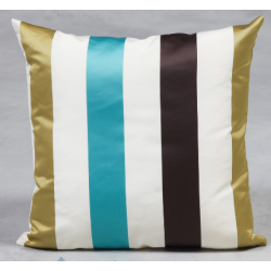 Large Stripe Sateen Finish Cushion - Aqua