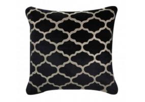 Morocco Patterned Black Velvet Cushion