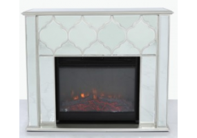 Morocco silver Mirror Fire Surround With Electric Fire Insert