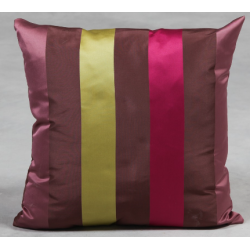 Large Stripe Sateen Finish Cushion - Fuscia