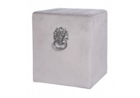 Grey Square Velvet Stool With Buttons And Side Rings