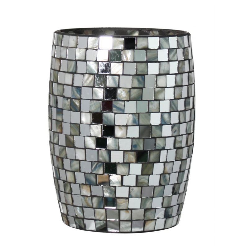 Silver shell tile mosaic waste bin forever furnishings for Decorative items from waste