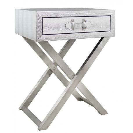 Silver Snakeskin Side Table