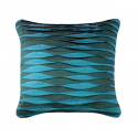 Teal Cushion with Silk and Satin Ruffle