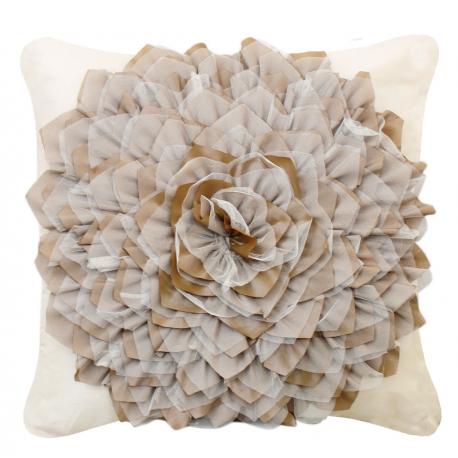 Cream and Mocha Flower Cushion