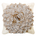 Cream and Mocha Flower Cushion