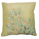 Pistachio Sequin Peacock Feathers Cushion