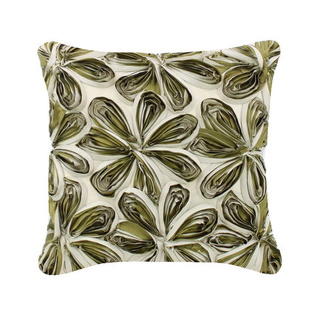 Green and Ivory Large Ribbon Flower Cushion