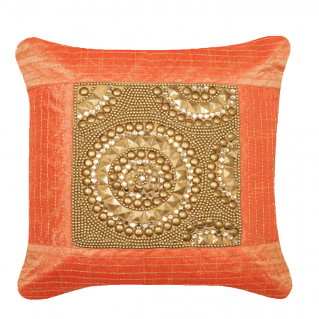 Orange and Gold Circles Gemstone and Sequins Small Cushion