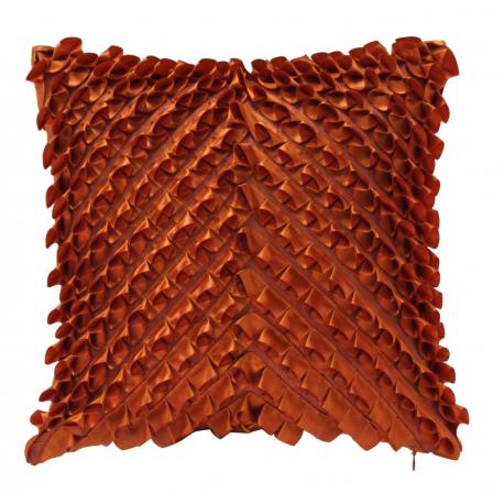 Terracotta Satin Ruffles Cushion