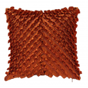 Terracotta Satin Ruffles Cushion