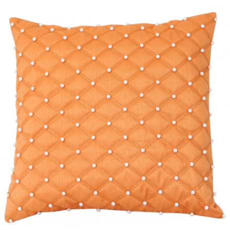Orange Pearl Studded Cushion
