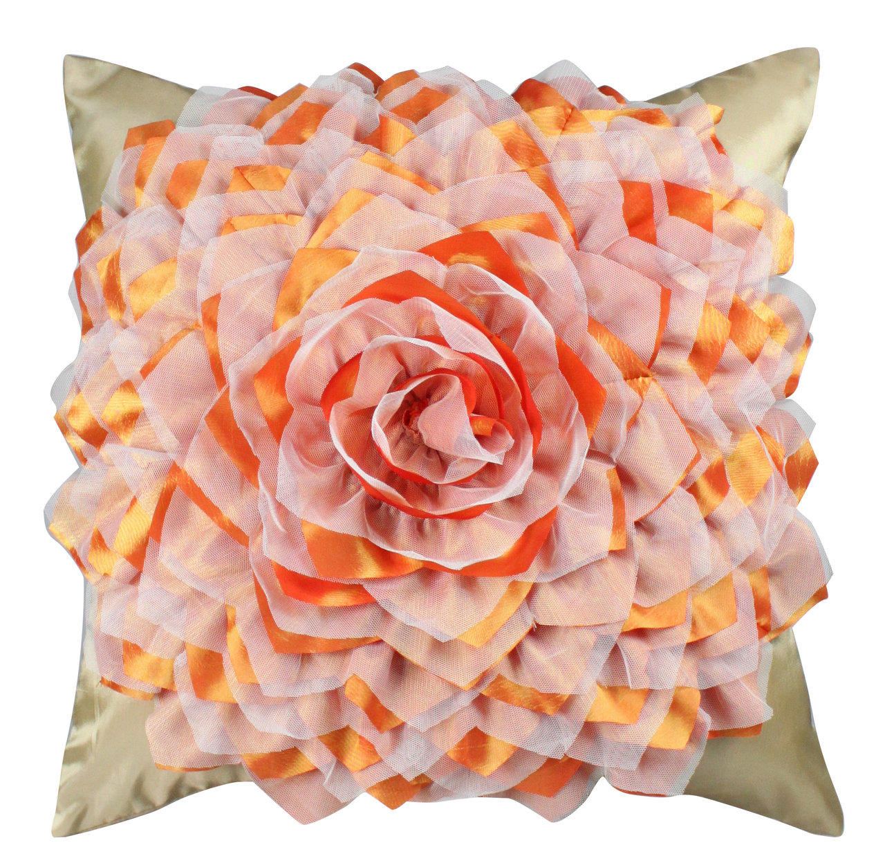 Gold And Terracotta Flower Cushion Forever Furnishings