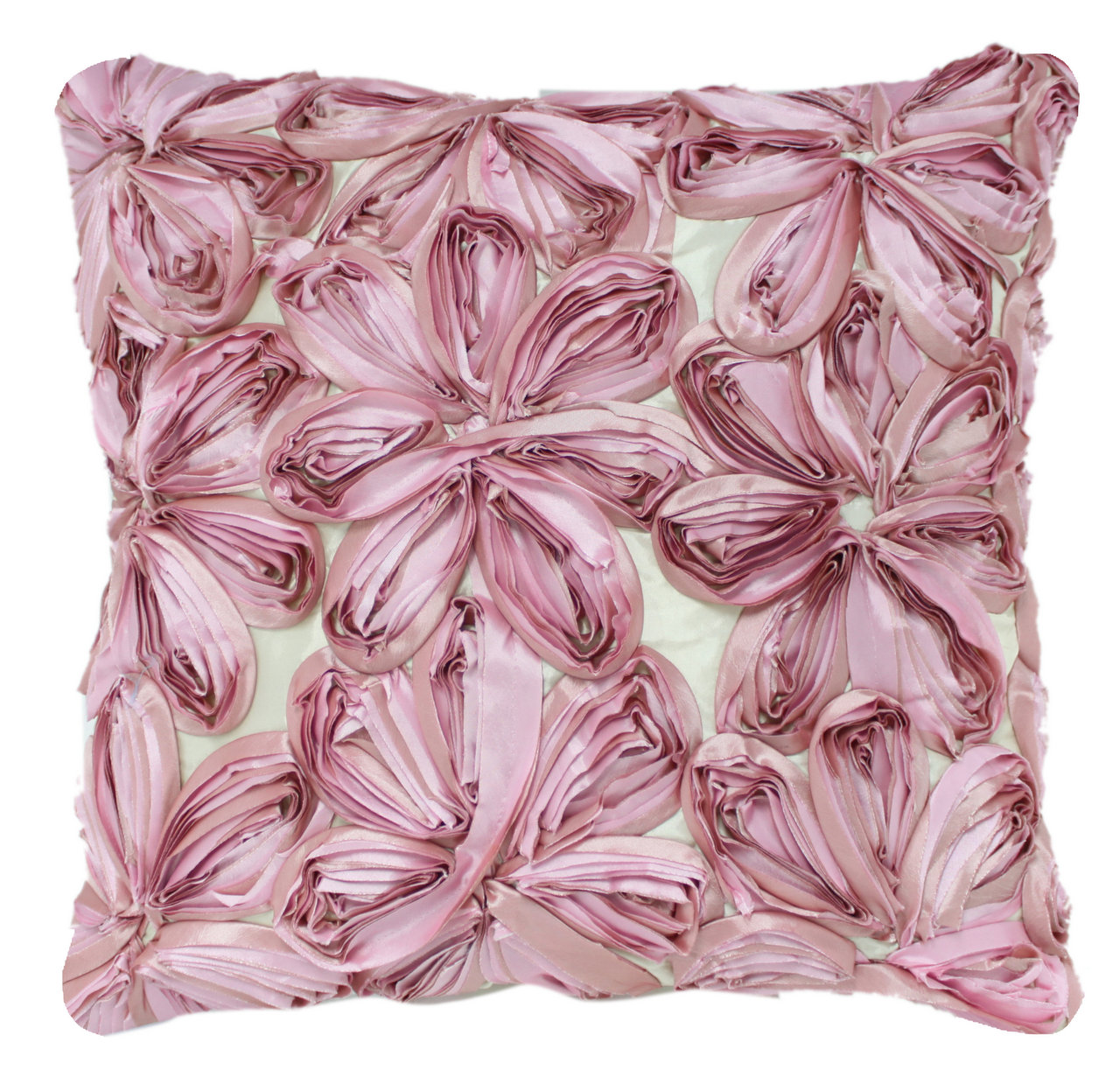 Pink And Lavender Large Ribbon Flower Cushion Forever Furnishings