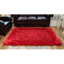 Red Border Deep Pile Deluxe Shaggy Rug