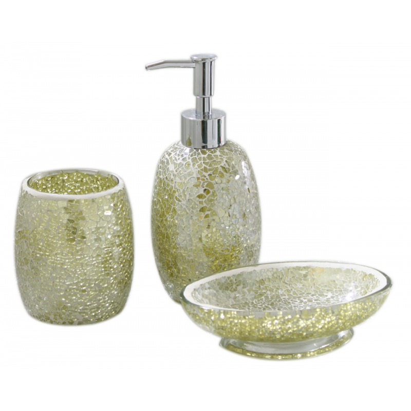 Pistachio sparkle mosaic bathroom set forever furnishings for Gold mosaic bathroom accessories