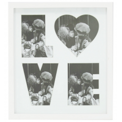 White Love Square Photo Frame