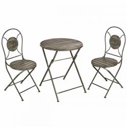 Antique Grey Garden Table and Chair Set